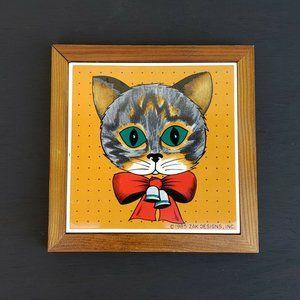 Vintage Cat Ceramic Wood Tile Wall Hanging Trivet